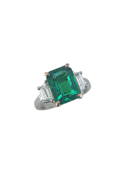 Oscar Heyman - Gold & Platinum Emerald Diamond Ring