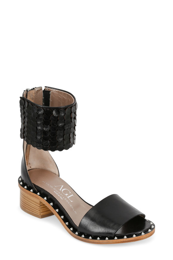 AGL Black Leather Ankle Cuff Sandal, 50mm
