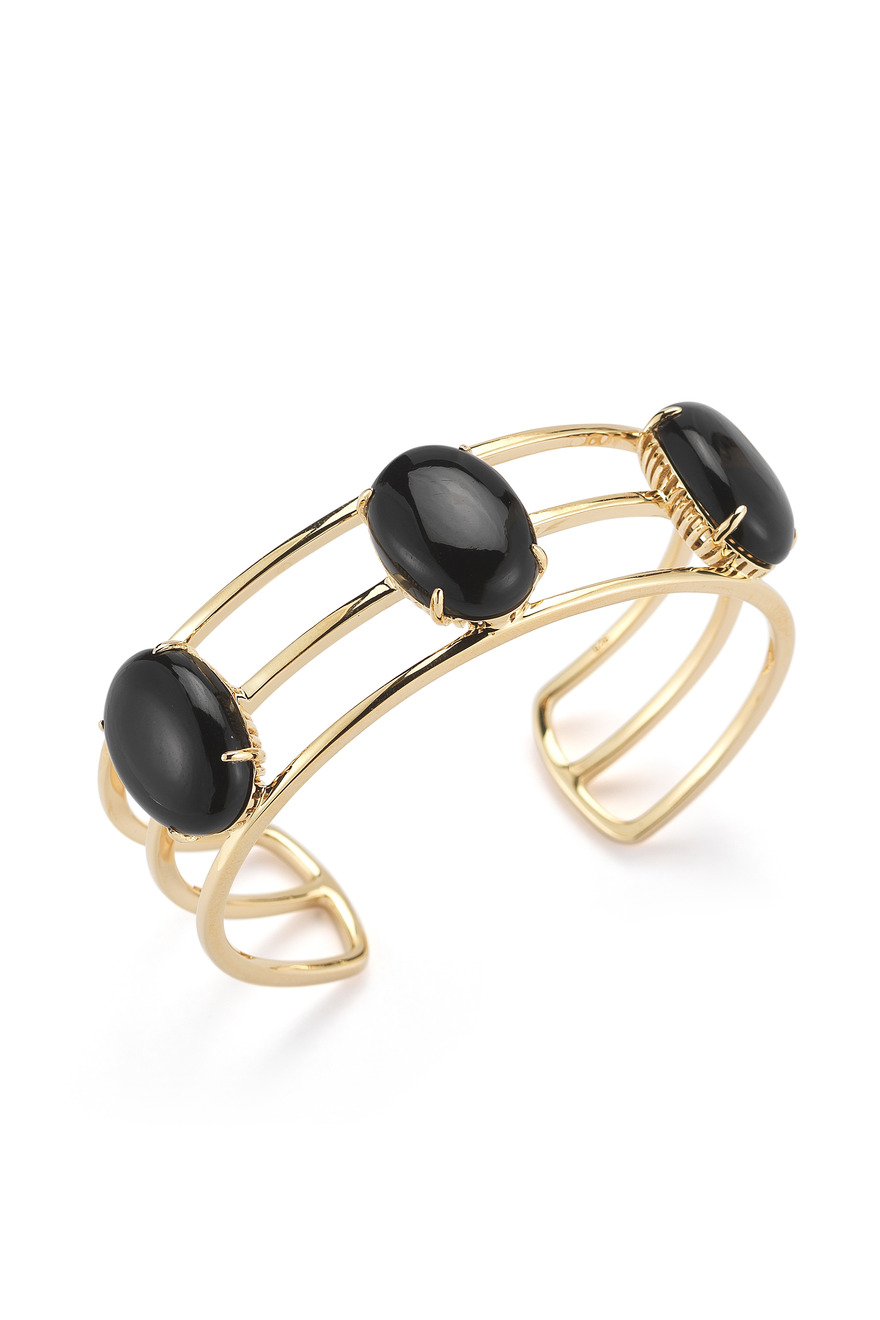 Gold Plated Berlin Oval Cabochon Cuff With Black Onyx