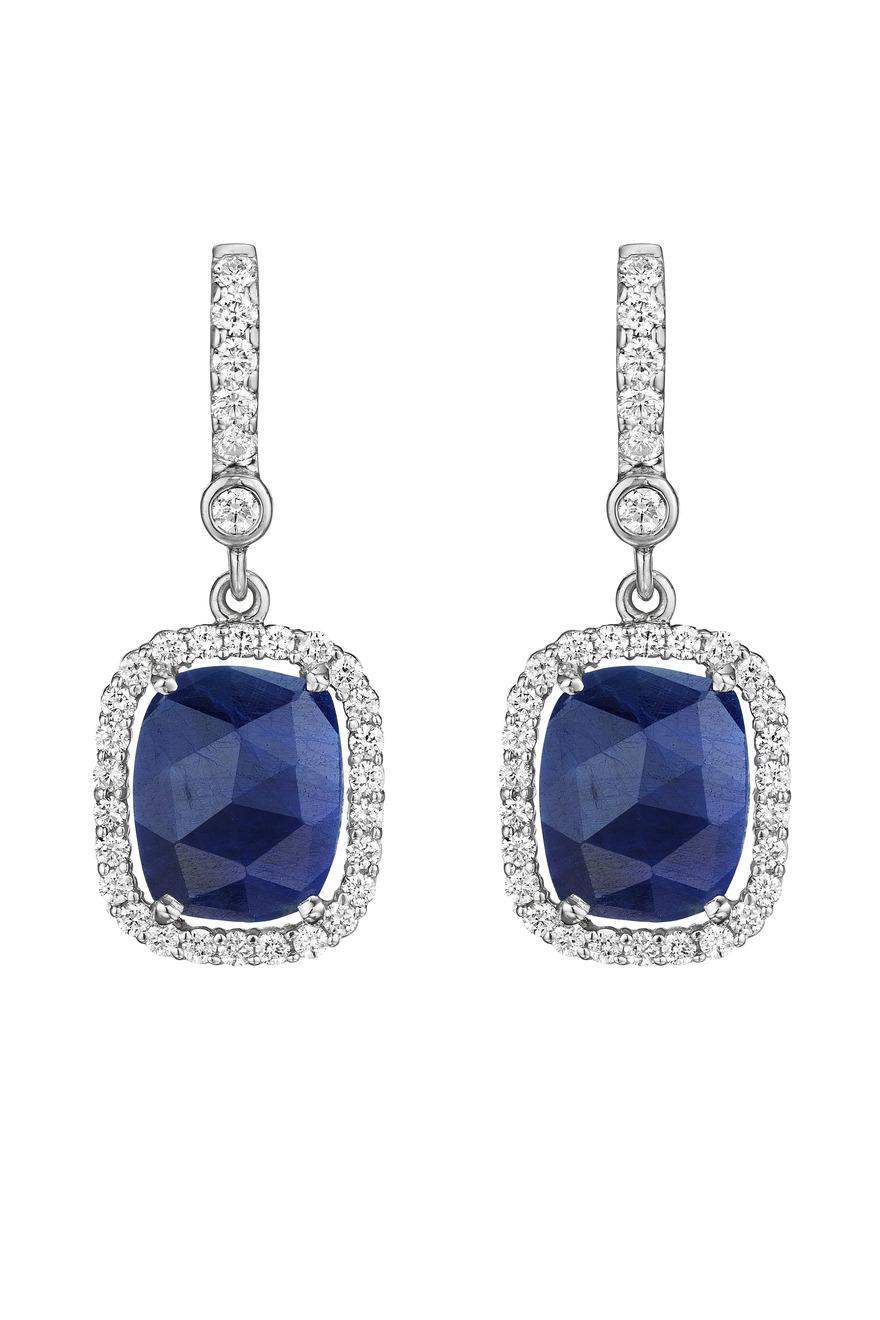 White Gold Diamond Sapphire Earrings