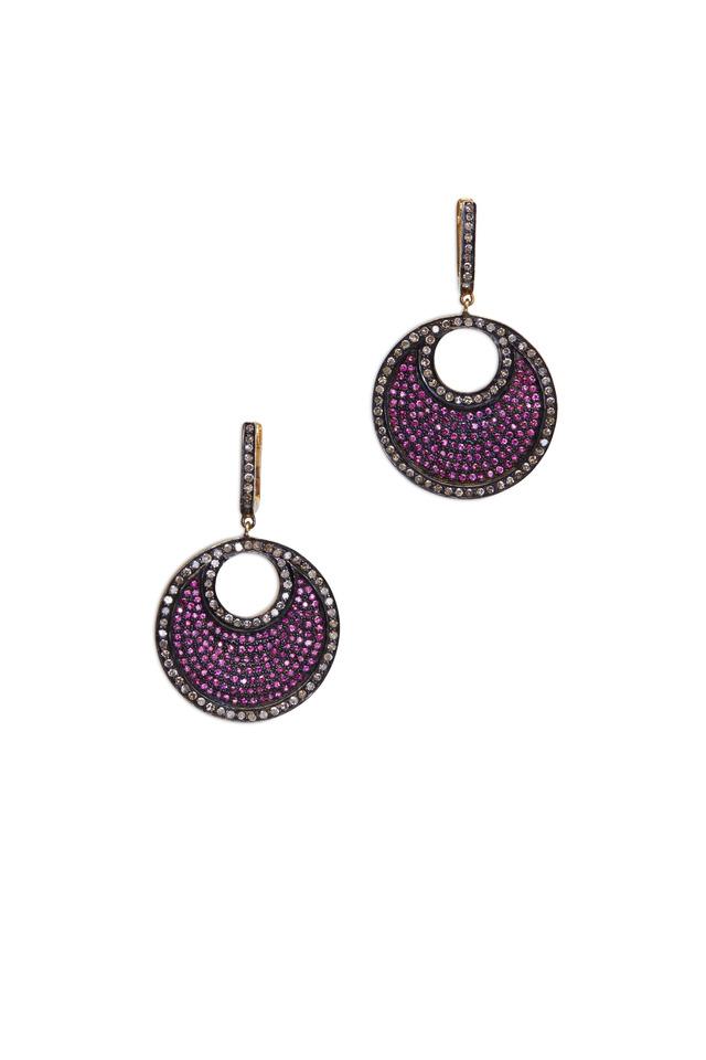 Gold & Silver Pavé-Set Ruby & Diamond Earrings