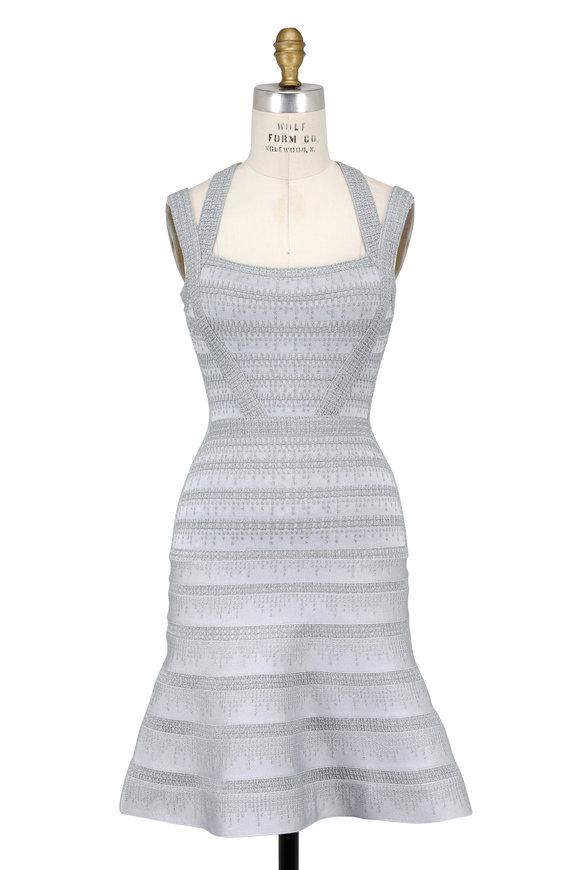Herve Leger Carole Silver Foil Double Strap Bandage Dress