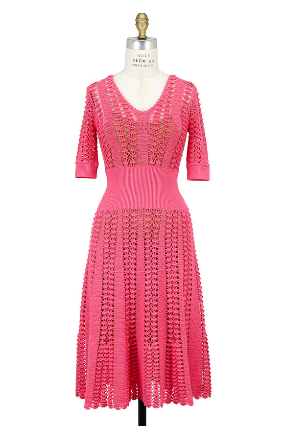 Michael Kors Collection Flamingo Pink Hand-Crocheted Elbow Sleeve Dress