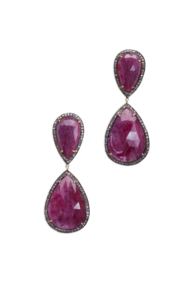 Gold & Silver Pink Sapphire Diamond Earrings
