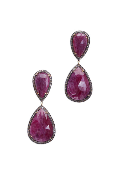 Loren Jewels - Gold & Silver Pink Sapphire Diamond Earrings