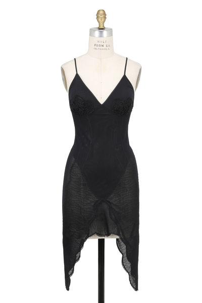 Norisol Ferrari - Black Lace Mesh Handkerchief Hem Mini Dress
