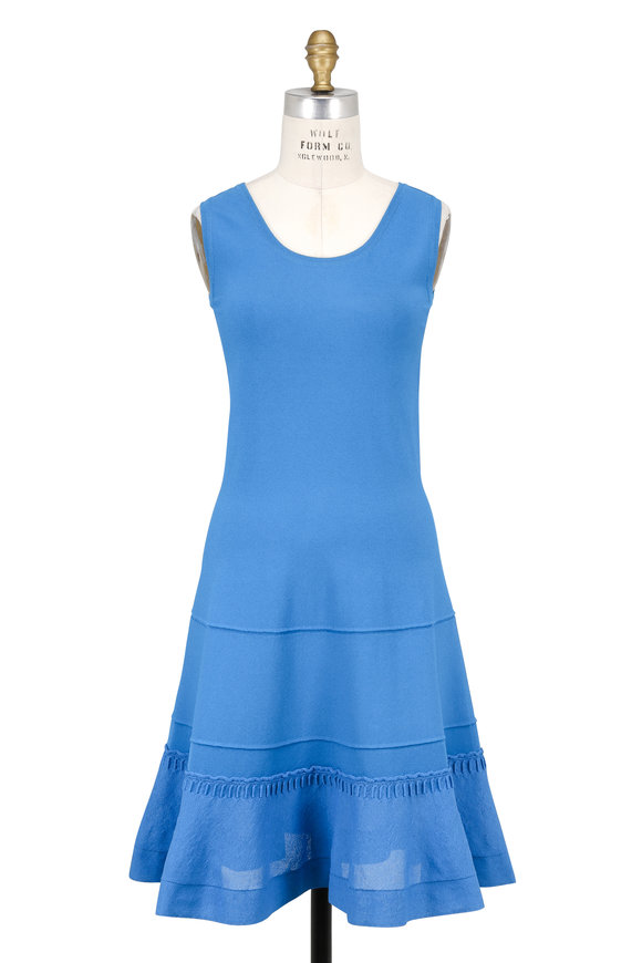 D.Exterior Turquoise Knit Fit & Flare Seeveless Dress