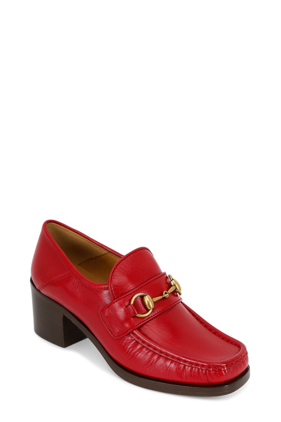 Gucci Vegas Red Leather Horsebit Block Heel Loafer, 55mm