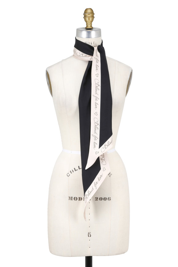 Gucci Black & Ivory Blind For Love Silk Scarf