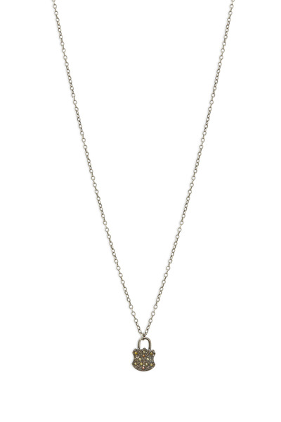 Loriann - Sterling Silver Sapphire Diamond Lock Necklace