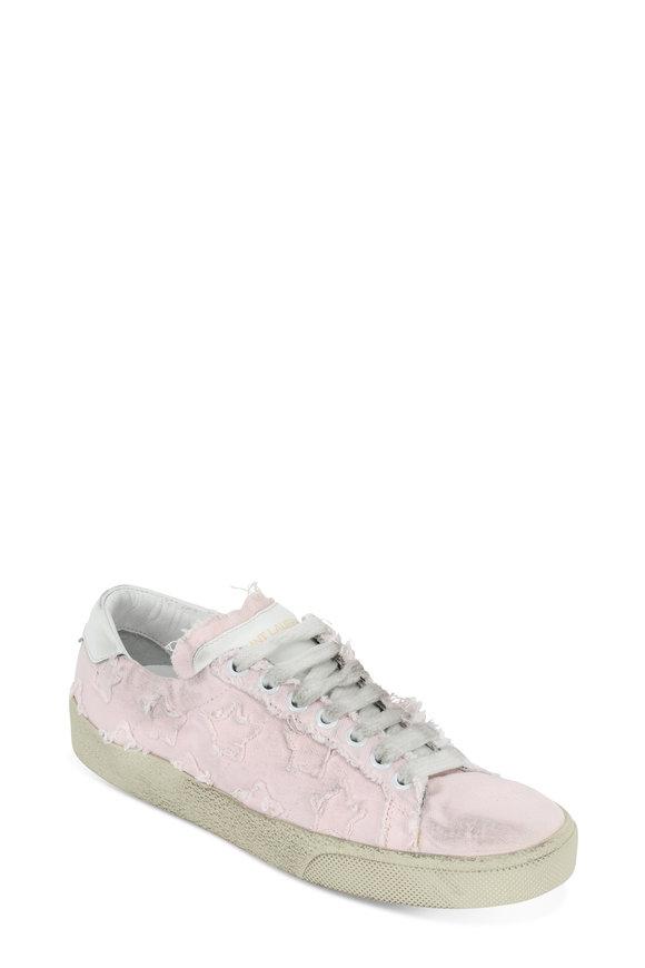 Saint Laurent Pink Washed Canvas Star Appliqué Sneaker