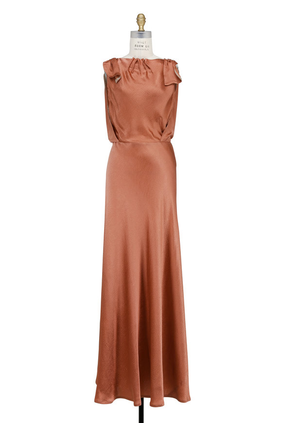 Valentino Nutmeg Hammered Silk Sleeveless Gown