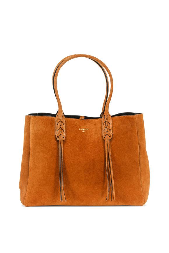Lanvin Luggage Suede Fringe Shopper Tote