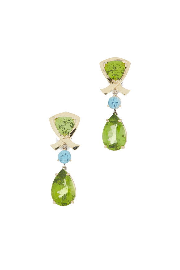 Frank Ancona Yellow Gold Peridot & Blue Zircon Earrings