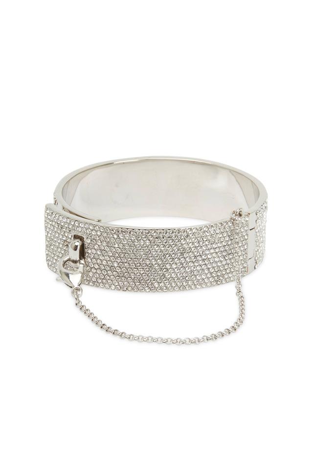 Sterling Silver Pavé-Set Crystal Cuff Bracelet