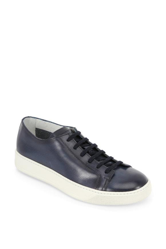 Santoni Cleanic Navy Blue Leather Low-Top Sneaker