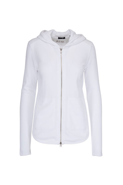 A T M - White French Terry Zip Hoodie