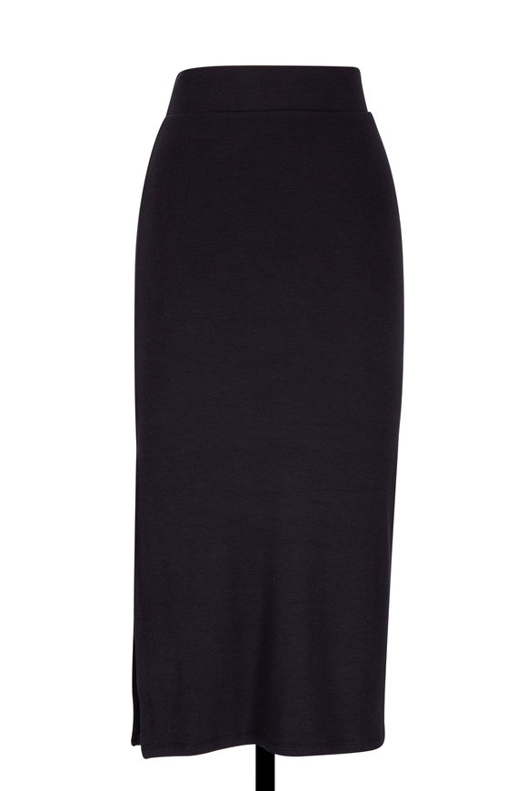 A T M Black Modal Ribbed Side Slit Skirt