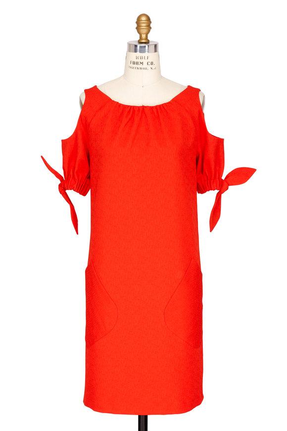 Talbot Runhof Cerisé Red Cold Shoulder Tie-Sleeve Dress