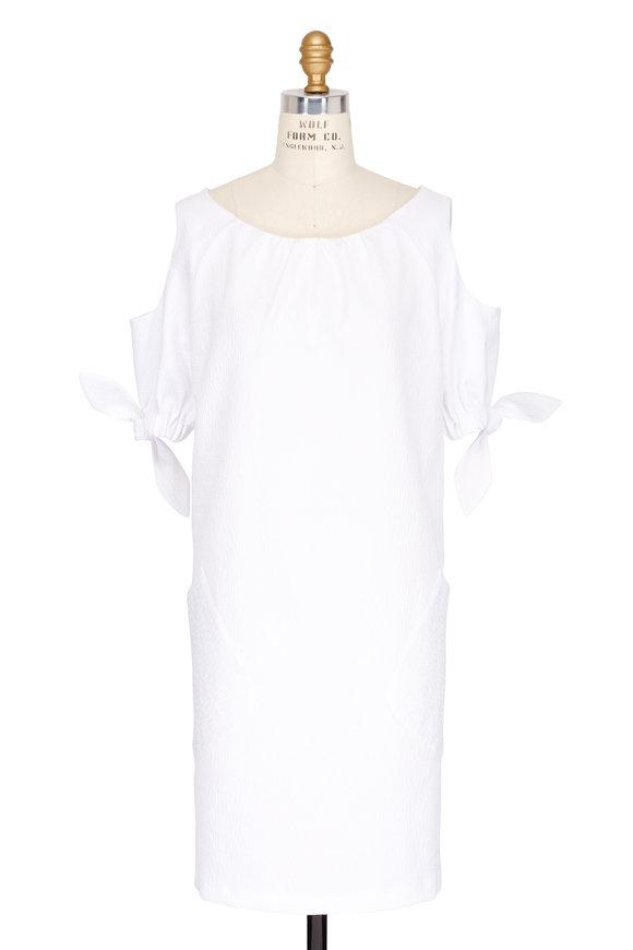 Talbot Runhof White Cold Shoulder Tie-Sleeve Dress