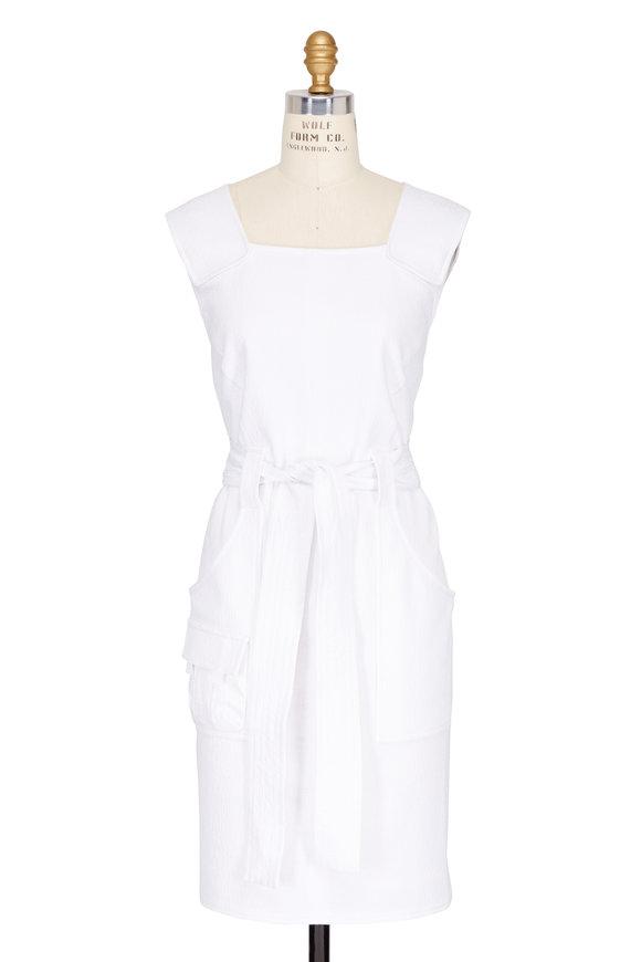 Talbot Runhof White Tie-Waist Sleeveless Dress