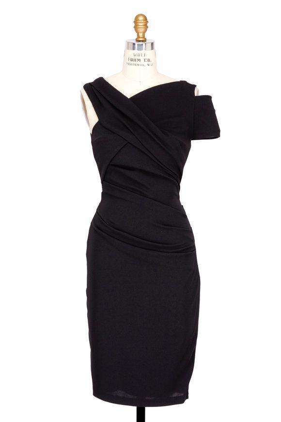 Talbot Runhof Black Crêpe Couture Single Cold Shoulder Dress
