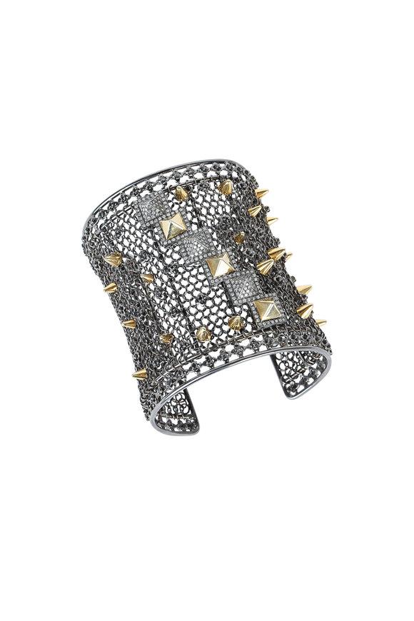 Loren Jewels Sterling Silver Mesh Chain Link Spike Bracelet