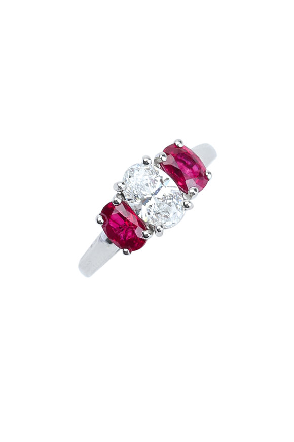 Oscar Heyman Platinum Diamond & Ruby Ring