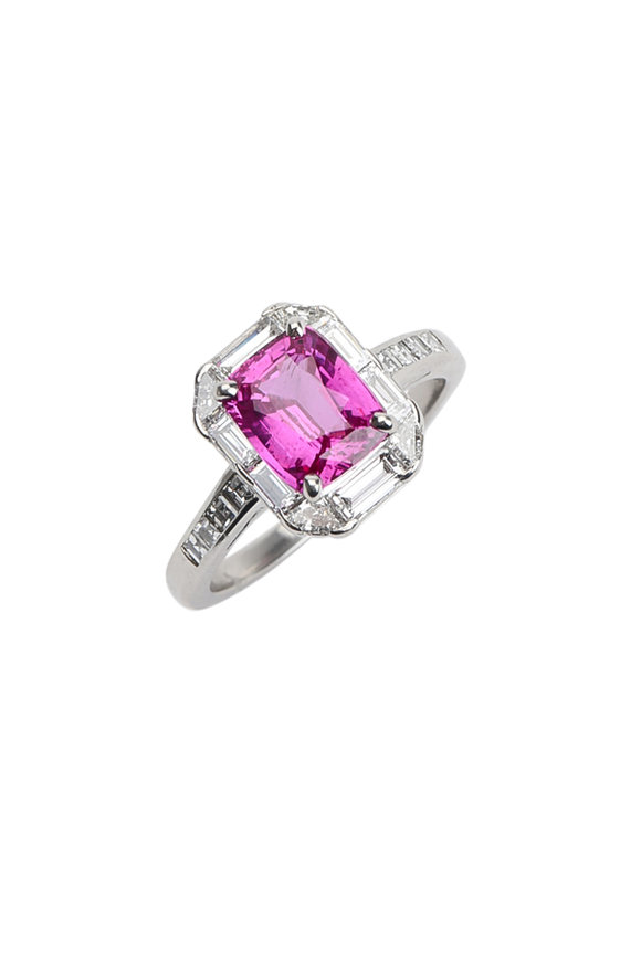 Oscar Heyman Platinum Pink Sapphire & Diamond Ring