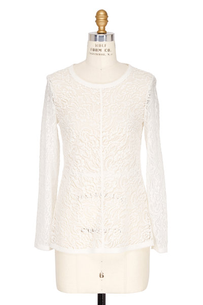 Raquel Allegra - Ivory Sheer Lace Long Sleeve Top