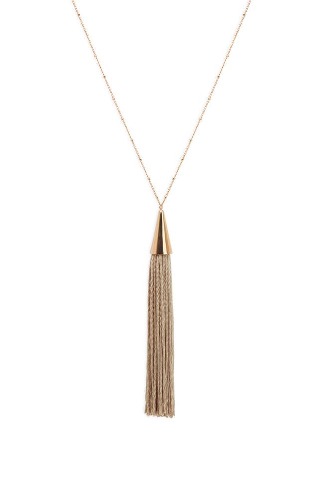 Rose Gold Beige Silk Tassle Cone Necklace