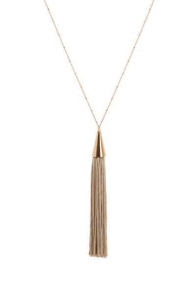 Eddie Borgo - Rose Gold Beige Silk Tassle Cone Necklace
