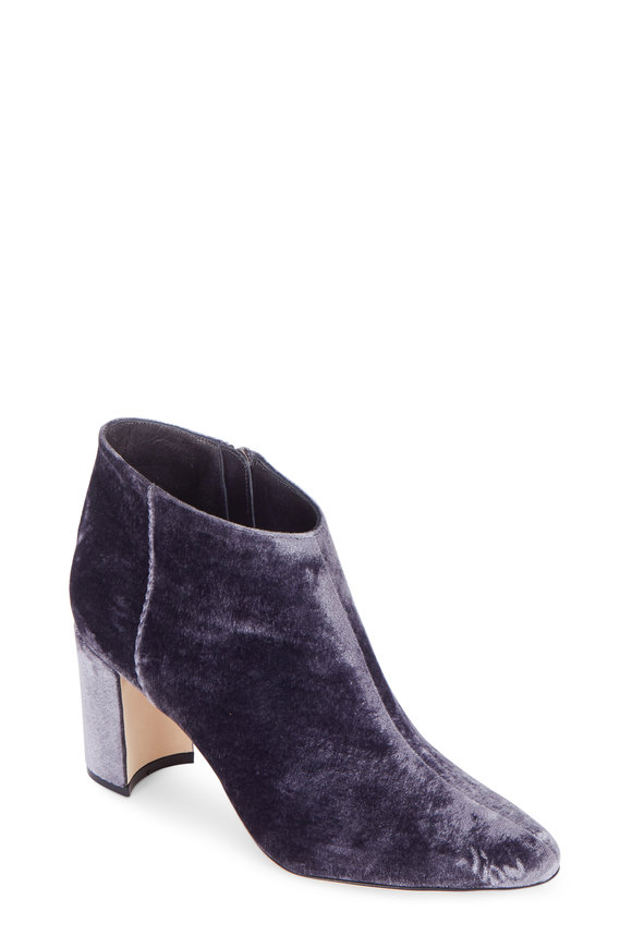 Manolo Blahnik Brusta Martina Steele Velvet Bootie, 70mm
