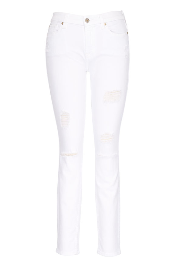 7 For All Mankind White Ankle Skinny Destroy Jean