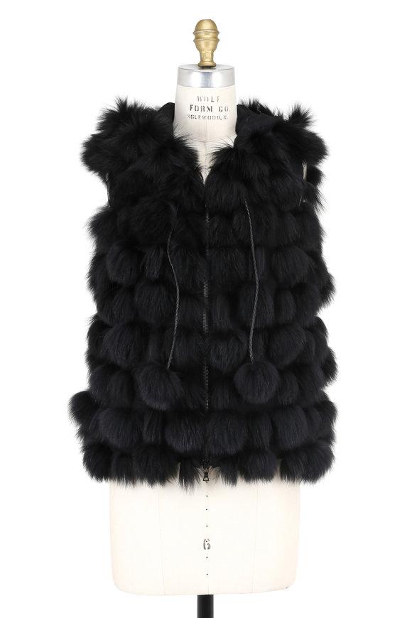 Oscar de la Renta Furs Black Shadow Fox Pom-Pom Hooded Vest