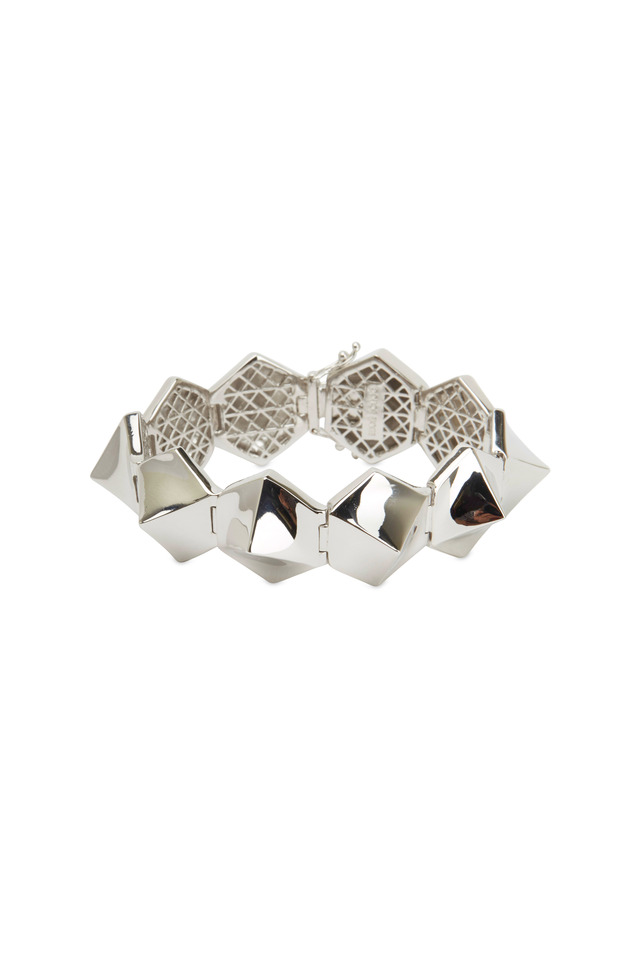 Sterling Silver Plated Brass Bent Pyramid Bracelet