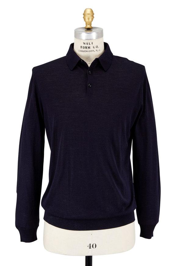 Ermenegildo Zegna Navy Blue High-Performance Wool Polo Sweater