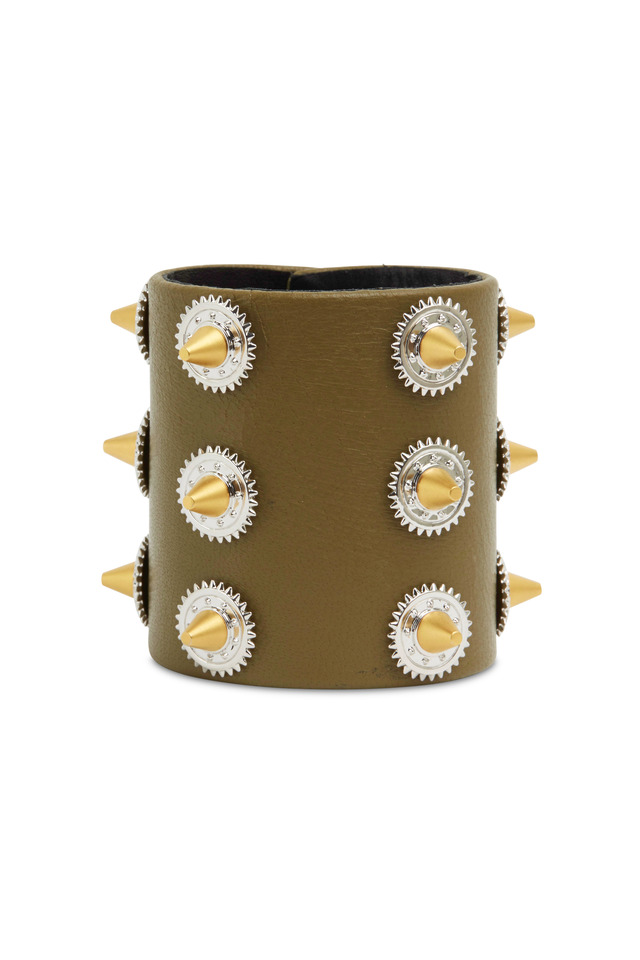 Gold & Silver Studded Green Cow Leather Bracelet