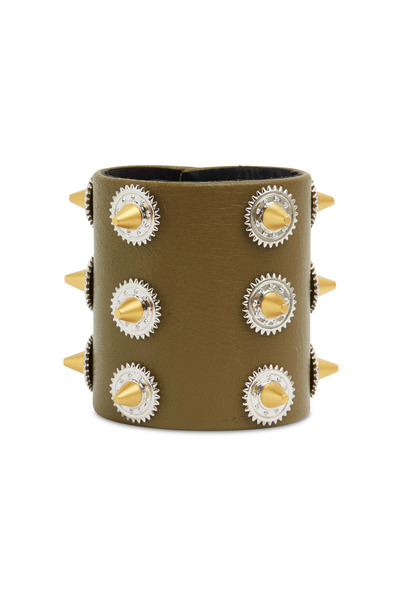 Eddie Borgo - Gold & Silver Studded Green Cow Leather Bracelet