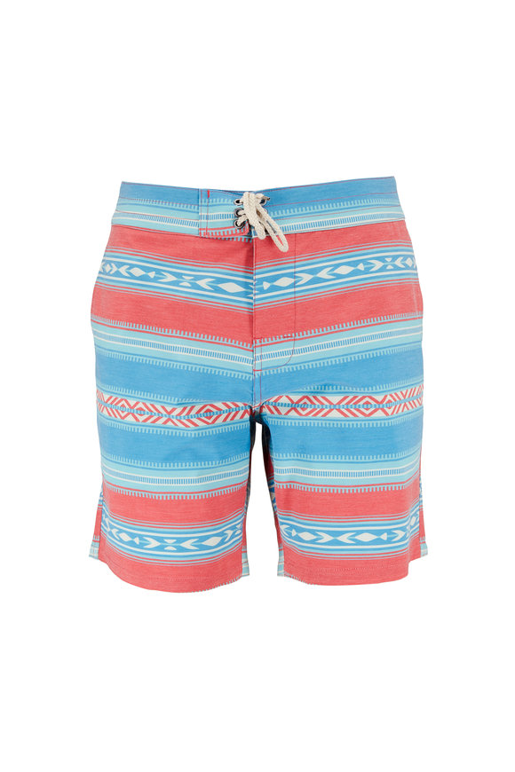 Faherty Brand Saltillo Blue & Red Tribal Print Board Short