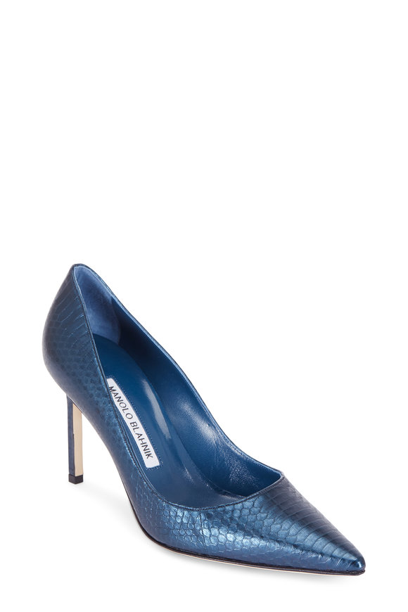 Manolo Blahnik Lisa Metallic Blue Snakeskin Pump, 90mm