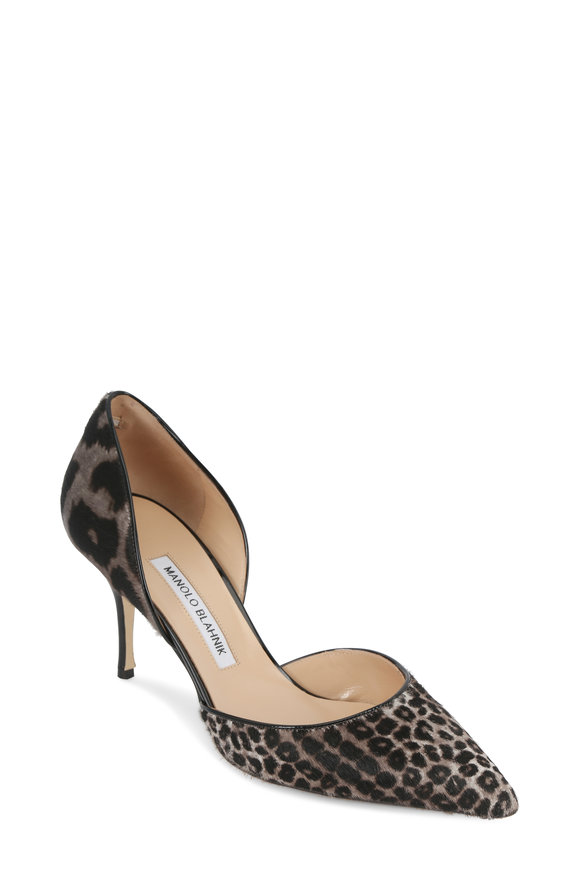 Manolo Blahnik Black & Gray Cheetah Print D'Orsay Pump, 70mm