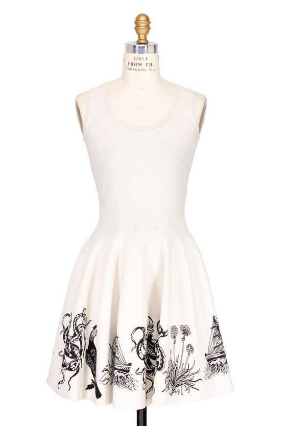Alexander McQueen Ivory & Black Nautical Border Sleeveless Dress