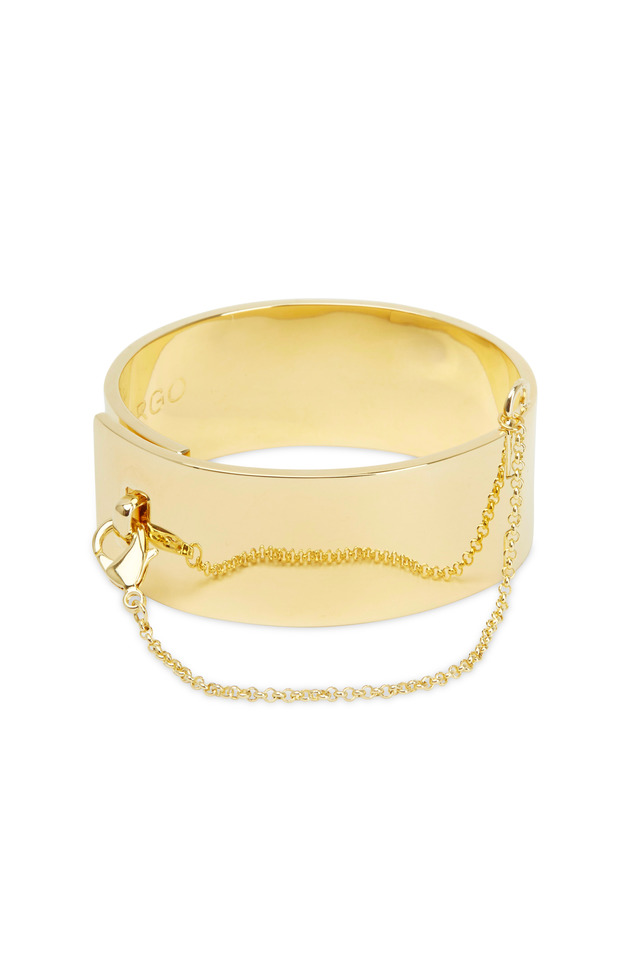 Gold Plated Brass Safety Chain Cuff Bracelet