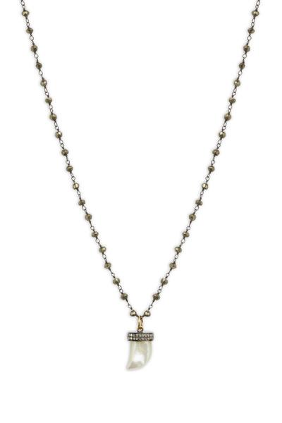 Loriann - Silver Black Spinel Moonstone Diamond Necklace