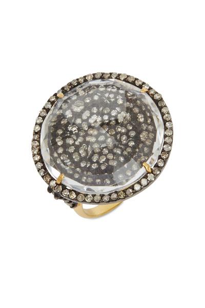 Loriann - Gold & Silver Quartz Crystal Diamond Ring