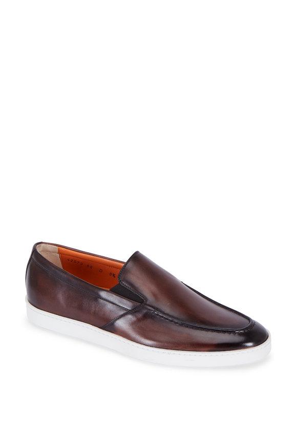 Santoni Farley Dark Brown Burnished Leather Loafer