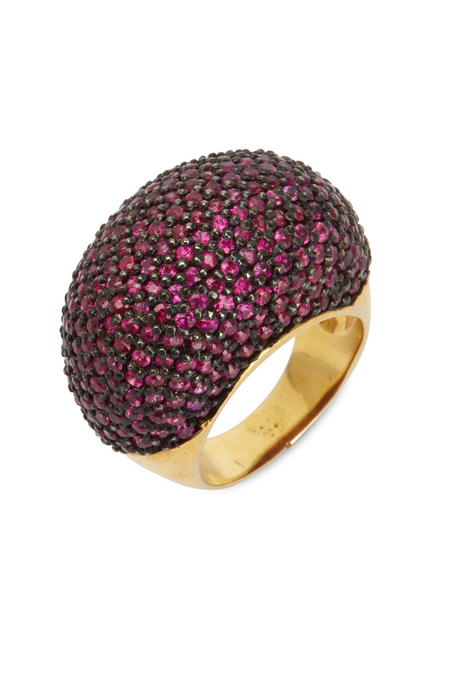 Yellow Gold Pink Sapphire Cocktail Ring