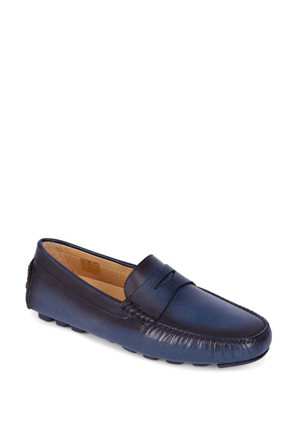 Di Bianco Oceano Blue Leather Penny Driver