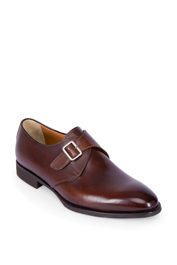 Di Bianco Brown Leather Single Monk Dress Shoe